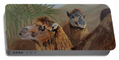 Portable Battery Charger featuring the painting Break Time by Karen Ilari