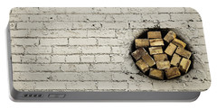 Portable Battery Charger featuring the photograph Bricks In The Wall - Abstract by Steven Milner