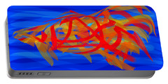 Portable Battery Charger featuring the digital art Bright Fish In Blue Water by Stephanie Grant