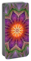 Portable Battery Charger featuring the digital art Bright Flower by Lilia D