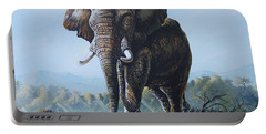 Portable Battery Charger featuring the painting Bright Morning by Anthony Mwangi