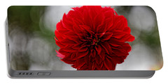 Bright Red Dahlia Portable Battery Charger