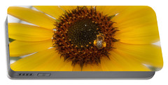 Portable Battery Charger featuring the photograph Vibrant Bright Yellow Sunflower With Honey Bee  by Jerry Cowart