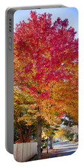 brilliant autumn colors on a Marblehead street Portable Battery Charger by Jeff Folger