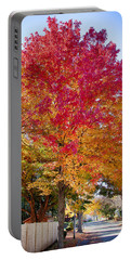 brilliant autumn colors on a Marblehead street Portable Battery Charger