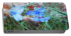 Portable Battery Charger featuring the photograph Brilliant Blue Flowers by Cathy Anderson