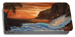 Portable Battery Charger featuring the painting Brilliant Hawaiian Sunset 1 by Jenny Lee