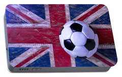 British Flag And Soccer Ball Portable Battery Charger by Garry Gay