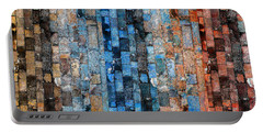 Portable Battery Charger featuring the digital art Bronze Blue Wall by Stephanie Grant