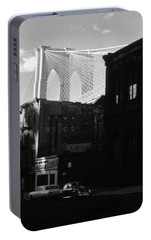 Portable Battery Charger featuring the photograph Brooklyn Bridge 1970 by John Schneider