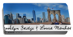 Brooklyn Bridge And Lower Manhattan Script Portable Battery Charger