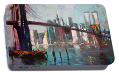 Brooklyn Bridge And Twin Towers Portable Battery Charger by Ylli Haruni
