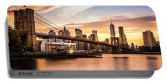 Brooklyn Bridge At Sunset  Portable Battery Charger by Mihai Andritoiu