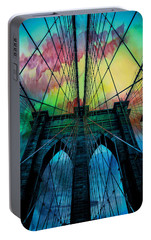 Psychedelic Skies Portable Battery Charger by Az Jackson