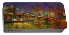 Brooklyn Bridge Impressionism Portable Battery Charger