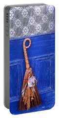 Portable Battery Charger featuring the photograph Broom On Blue Door by Rodney Lee Williams