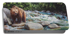 Brown Bear On The Little Susitna River Portable Battery Charger by Karen Whitworth