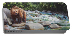 Brown Bear And Salmon On The River - Alaskan Wildlife Landscape Portable Battery Charger