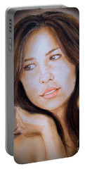 Portable Battery Charger featuring the drawing Brown Haired And Lightly Freckled Beauty Fade To Black Version by Jim Fitzpatrick