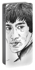 Portable Battery Charger featuring the drawing Bruce Lee by Teresa White