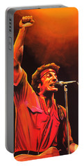 Bruce Springsteen Painting Portable Battery Charger by Paul Meijering
