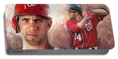 Portable Battery Charger featuring the painting Bryce Harper Artwork by Sheraz A