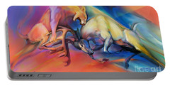 Portable Battery Charger featuring the painting Buck Off by Rob Corsetti