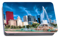 Buckingham Fountain Skyline Panorama Portable Battery Charger by Christopher Arndt