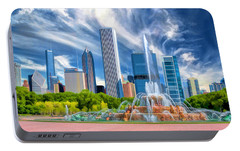 Buckingham Fountain Skyscrapers Portable Battery Charger by Christopher Arndt