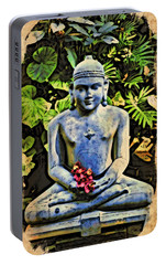 Portable Battery Charger featuring the painting Buddha In Garden by Joan Reese