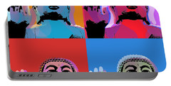 Portable Battery Charger featuring the digital art Buddha Pop Art - 4 Panels by Jean luc Comperat