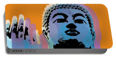 Portable Battery Charger featuring the digital art Buddha Pop Art - Warhol Style by Jean luc Comperat