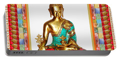Buddha Sparkle Bronze Painted N Jewel Border Deco Navinjoshi  Rights Managed Images Graphic Design I Portable Battery Charger by Navin Joshi