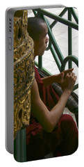 Buddhist Monk Leaning Against A Pillar Sule Pagoda Central Yangon Myanar Portable Battery Charger