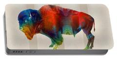 Buffalo Animal Print - Wild Bill - By Sharon Cummings Portable Battery Charger