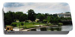 Buffalo History Museum And Delaware Park Hoyt Lake With Rowboats Oil Painting Effect Portable Battery Charger