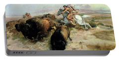Buffalo Hunt Portable Battery Charger by Charles Marion Russell