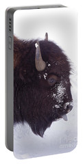 Buffalo In Snow   #6983 Portable Battery Charger by J L Woody Wooden