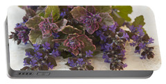 Portable Battery Charger featuring the photograph Buglweed Blossoms And Leaves On Lace by Sandra Foster