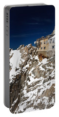 Portable Battery Charger featuring the photograph building in Aiguille du Midi - Mont Blanc by Antonio Scarpi