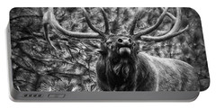 Bull Elk Bugling Black And White Portable Battery Charger