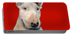 Bull Terrier On Red Portable Battery Charger
