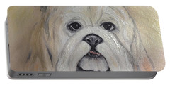 Portable Battery Charger featuring the painting Bulldog by Karen Zuk Rosenblatt