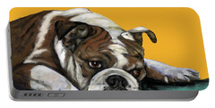 Bulldog On Yellow Portable Battery Charger