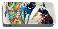 Bulldog Pop Art - How Bout A Kiss - By Sharon Cummings Portable Battery Charger