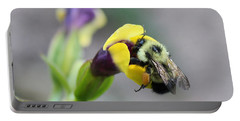 Portable Battery Charger featuring the photograph Bumble Bee Making A Wish by Penny Meyers
