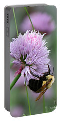 Portable Battery Charger featuring the photograph Bumblebee On Clover by Barbara McMahon