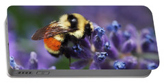 Portable Battery Charger featuring the photograph Bumblebee On Lavender by Rona Black