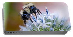 Bumblebee On Thistle Blossom Portable Battery Charger by Marty Saccone