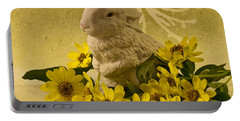 Portable Battery Charger featuring the photograph Bunny And Daisies  by Sandra Foster